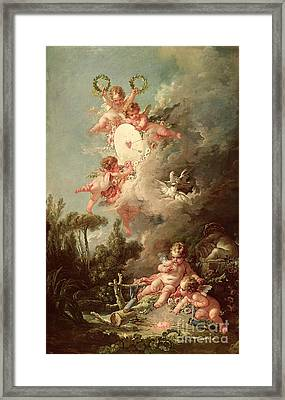 Cupids Target Framed Print by Francois Boucher
