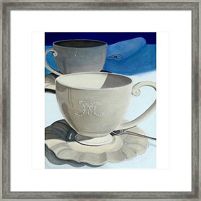 Cups Of Coffee In A Quiet Framed Print