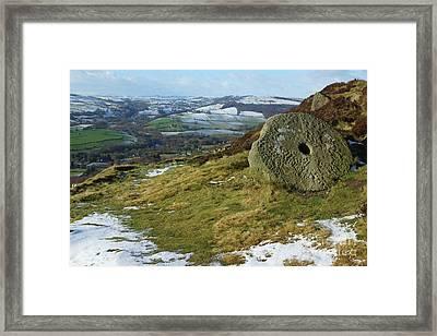 Curbar Edge Millstone Framed Print by David Birchall