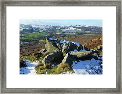 Curbar Edge Rocks Framed Print by David Birchall