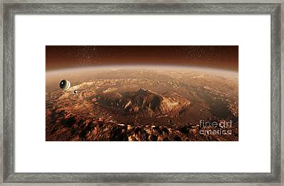 Curiosity Rover Descending Into Gale Framed Print by Steven Hobbs