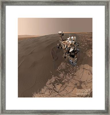 Curiosity Rover Self-portrait Framed Print by Science Source