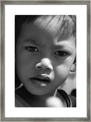 Curious Cambodian Child Framed Print by Linda Russell