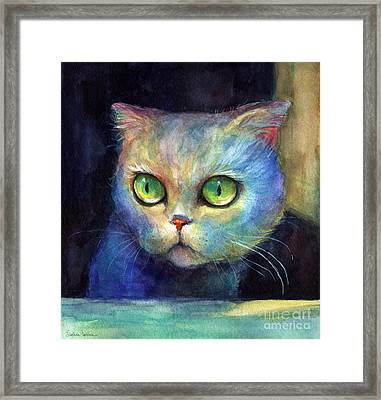 Curious Kitten Watercolor Painting  Framed Print by Svetlana Novikova