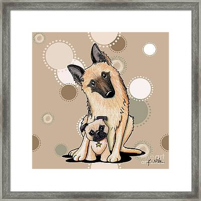 Curious Latte Dots Duo Framed Print by Kim Niles