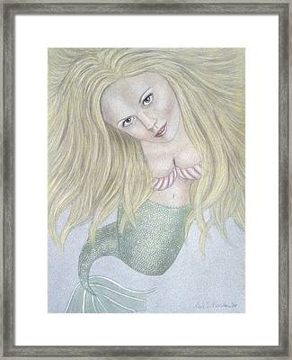 Curious Mermaid - Graphite And Colored Pastel Chalk Framed Print by Nicole I Hamilton