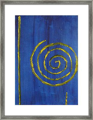 Curlicue Yellow Framed Print by Roger Cummiskey