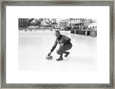 Curling In St. Moritz Framed Print by Underwood Archives