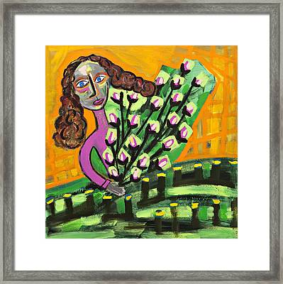 Curly Hair Lady With Pink Flowers Framed Print by Maggis Art