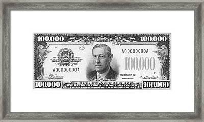 Currency: 100,000 Dollar Bill Framed Print