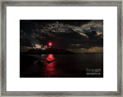 Curtain Call At Nubble Lighthouse Framed Print
