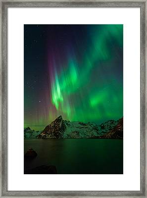 Curtains Of Light Framed Print by Alex Conu