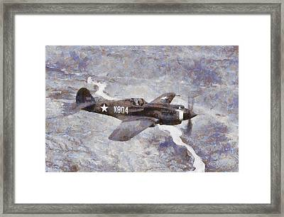 Curtiss P-40 In Flight Wwii Framed Print by Esoterica Art Agency