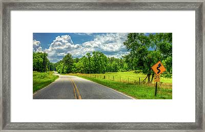 Curves Ahead The Understatement Roadway Art Framed Print