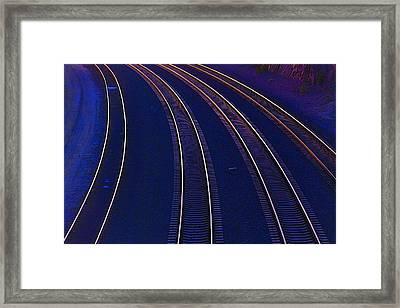 Curving Railroad Tracks Framed Print by Garry Gay