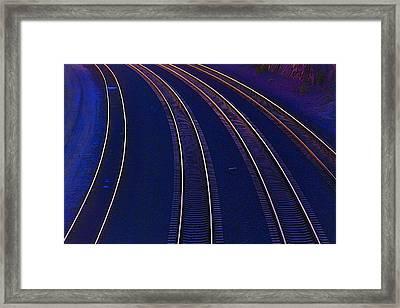 Curving Railroad Tracks Framed Print