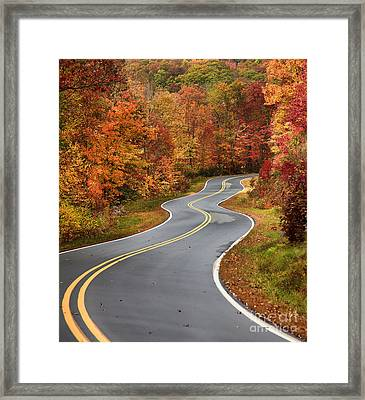 Curvy Road In The Mountains Framed Print