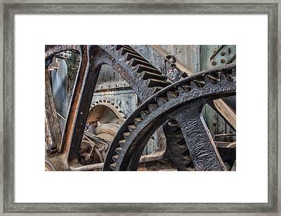 Custer Dredge Gears Framed Print by Leland D Howard