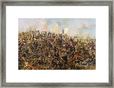 Custer's Last Stand From The Battle Of Little Bighorn Framed Print