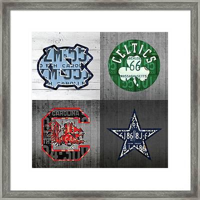 Custom 4 Team License Plates Sport Art No 1 Framed Print