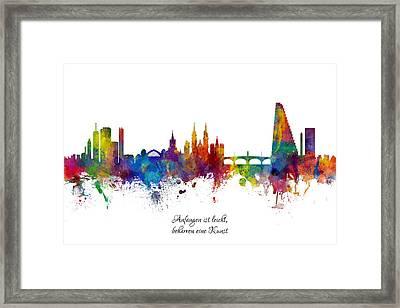 Custom Artwork Basel Switzerland Skyline Framed Print