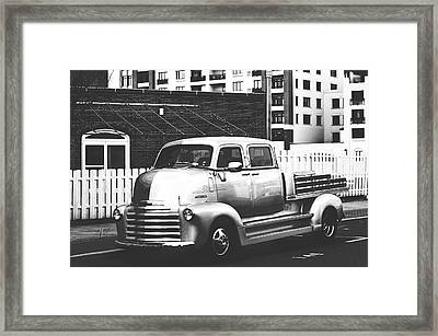 Framed Print featuring the photograph Custom Chevy Asbury Park Nj Black And White by Terry DeLuco