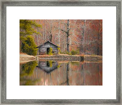Custom Crop - Cabin By The Lake Framed Print by Shelby  Young
