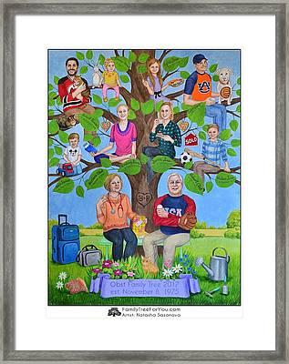 Custom Family Tree Art For Mom's 65th Birthday Framed Print by Natasha Sazonova