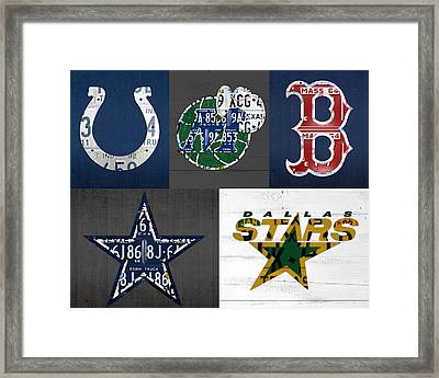 Custom Sports Team License Plate Art Combo Print No 001 Framed Print by Design Turnpike