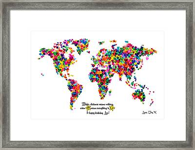Custom World Map For Joy Framed Print