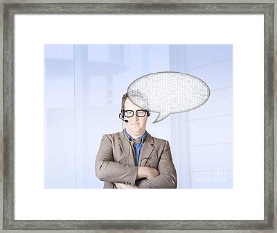 Customer Service Man Talking Through Speech Icon Framed Print by Jorgo Photography - Wall Art Gallery