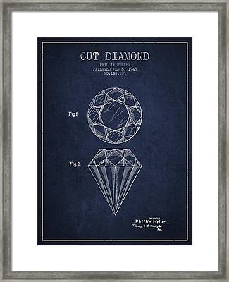 Cut Diamond Patent From 1873 - Navy Blue Framed Print by Aged Pixel