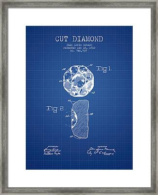 Cut Diamond Patent From 1910 - Blueprint Framed Print by Aged Pixel