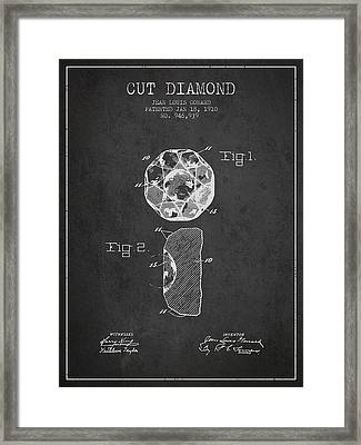 Cut Diamond Patent From 1910 - Charcoal Framed Print by Aged Pixel
