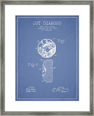 Cut Diamond Patent From 1910 - Light Blue Framed Print by Aged Pixel