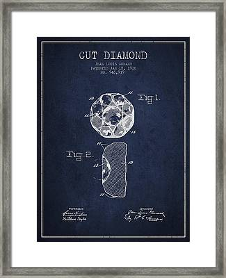 Cut Diamond Patent From 1910 - Navy Blue Framed Print by Aged Pixel