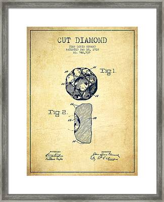 Cut Diamond Patent From 1910 - Vintage Framed Print by Aged Pixel
