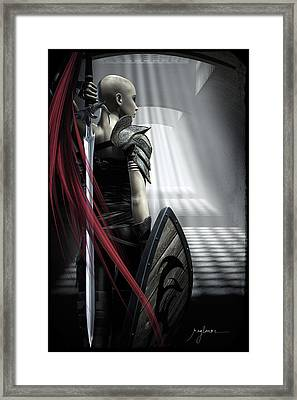 Cut In Red Framed Print by Bryan Rogers