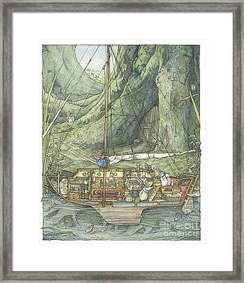 Cutaway Of Dustys Boat Framed Print by Brambly Hedge