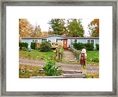 Cute And Friendly Scarecrow 3 Framed Print