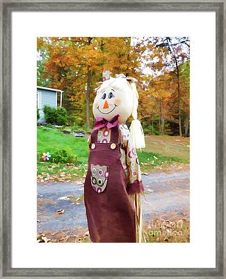 Cute And Friendly Scarecrow 4 Framed Print