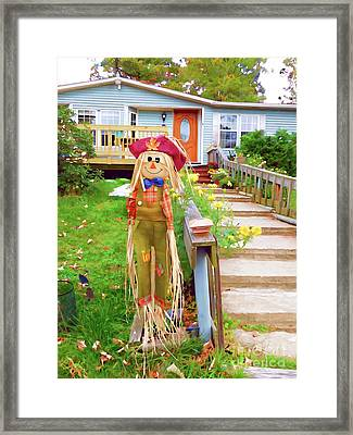 Cute And Friendly Scarecrow 5 Framed Print
