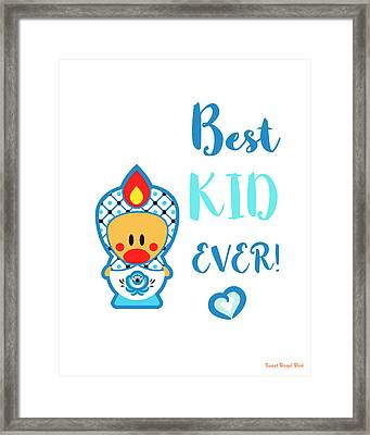 Cute Art - Blue And White Folk Art Sweet Angel Bird In A Nesting Doll Costume Best Kid Ever Wall Art Print Framed Print