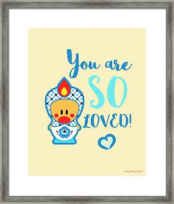 Cute Art - Blue And White Folk Art Sweet Angel Bird In A Nesting Doll Costume You Are So Loved Wall Art Print Framed Print
