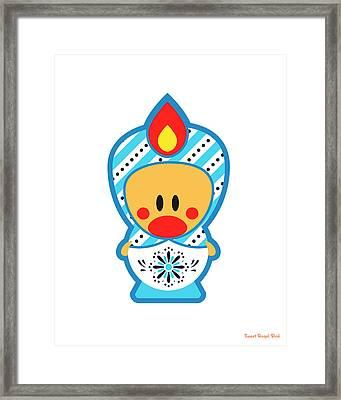 Cute Art - Blue And White Folk Art Sweet Angel Bird Nesting Doll Wall Art Print Framed Print