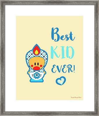 Cute Art - Blue, Beige And White Folk Art Sweet Angel Bird In A Nesting Doll Costume Best Kid Ever Wall Art Print Framed Print