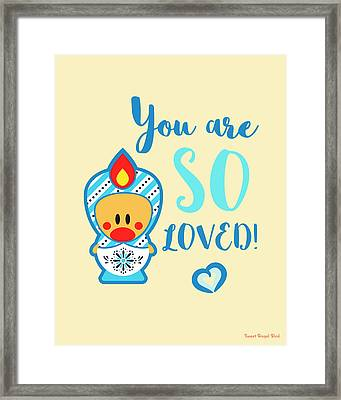 Cute Art - Blue, Beige And White Snowflake Folk Art Sweet Angel Bird Matryoshka You Are So Loved Wall Art Print Framed Print