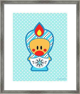 Cute Art - Blue Polka Dot Folk Art Sweet Angel Bird In A Matryoshka Costume Wall Art Print Framed Print