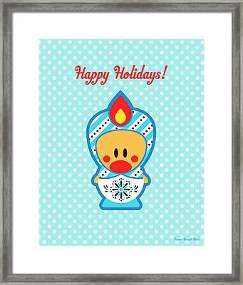 Cute Art - Blue Polka Dot Happy Holidays Folk Art Sweet Angel Bird In A Nesting Doll Costume Wall Art Print Framed Print