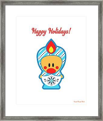 Cute Art - Happy Holidays Folk Art Sweet Angel Bird In A Nesting Doll Costume Wall Art Print Framed Print